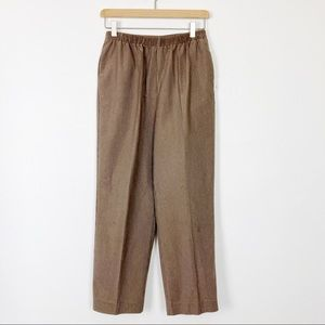 Vintage high rise elastic waist brown cords pants